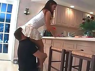 Clothed Facesitting Kitchen Licking Skirt