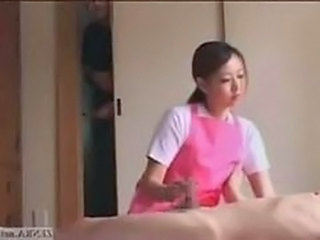Asian CFNM Handjob Japanese MILF Uniform