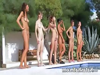 Lesbian Nudist Outdoor Pool Skinny Teen