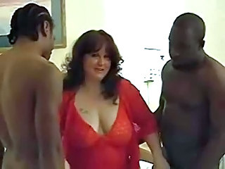 Amateur BBW Big Tits Interracial Lingerie MILF Natural SaggyTits Threesome Wife