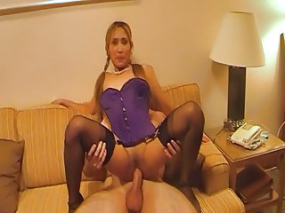 Amateur Amazing Asian Corset Riding Stockings