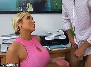 Amazing Big Tits Blonde MILF Office