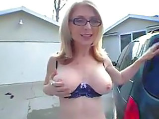 Glasses Lingerie MILF Outdoor