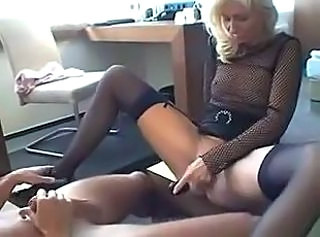 European Fishnet German Masturbating MILF Stockings Toy Wife