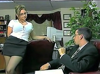 Amazing Big Tits Glasses MILF Office Secretary Stockings