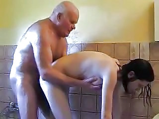 Daddy Daughter Doggystyle Old and Young Showers Teen Young