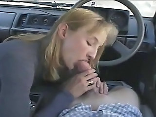 Amateur Blonde Blowjob Car Clothed Girlfriend