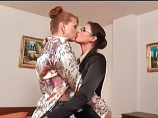 Amazing Glasses Kissing Lesbian MILF Secretary