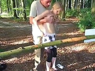 Daddy Old and Young Outdoor Skinny Teen