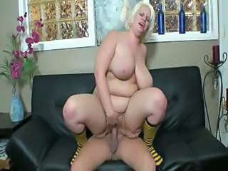 BBW Big Tits Blonde MILF Natural Riding SaggyTits