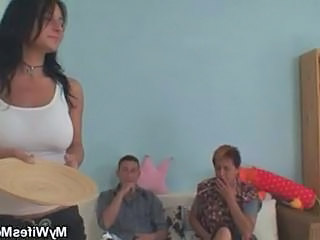 Family Mature Mom Old and Young Threesome Wife
