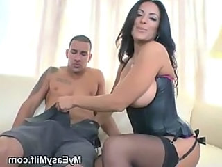 Amazing Big Tits Brunette Corset MILF Stockings