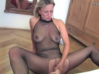 Blonde Lingerie Masturbating Mature SaggyTits Toy