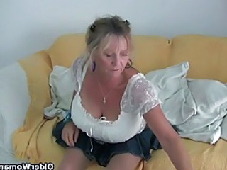 Granny with big tits masturbates in pantyhose tubes