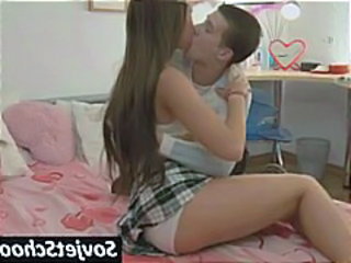Brunette Kissing Long hair Russian Teen