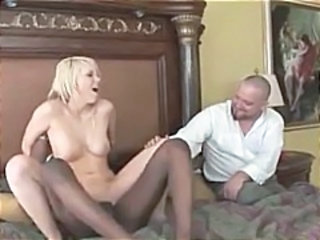 Blonde Interracial MILF Riding Threesome Wife