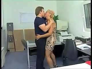 German Kissing Mature Office