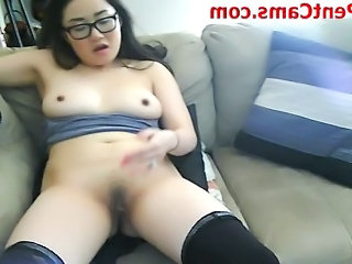 Asian Chinese Glasses Masturbating Webcam