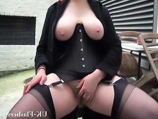 BBW Corset Masturbating Public SaggyTits Stockings
