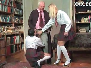 Blowjob Clothed Daddy Old and Young Student Teen Uniform
