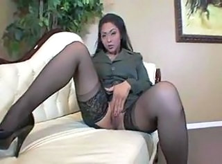 Asian Masturbating MILF Stockings