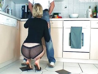 Ass Blowjob Clothed Kitchen Panty