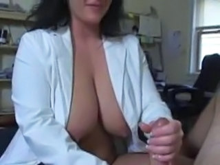 Big Tits Handjob MILF Natural Nipples Nurse Uniform
