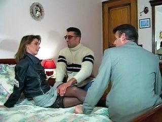 European French MILF Stockings Threesome