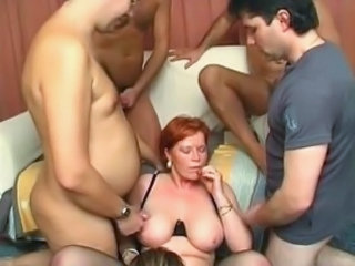 Cumshot Gangbang Mature Mom Old and Young SaggyTits