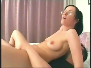 Amateur Glasses Riding Russian Teen