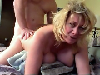 Blondine Doggy Styl Volwasse Ouer Vrou