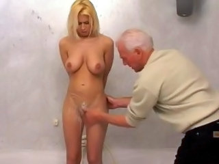 Bathroom Blonde Daddy Daughter Old and Young