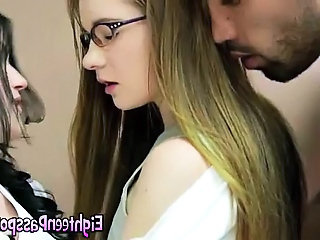 Bisexual Glasses Teen Threesome