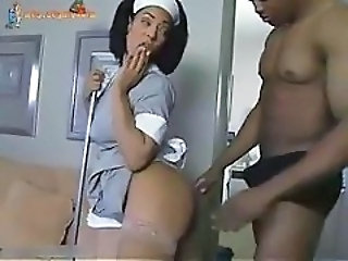 Doggystyle Ebony Maid MILF Uniform