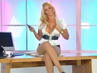 Amazing Big Tits MILF Office Pornstar Secretary Silicone Tits Solo Stockings Stripper