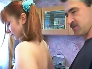 Amateur Daddy Daughter Kitchen Old and Young Redhead Teen