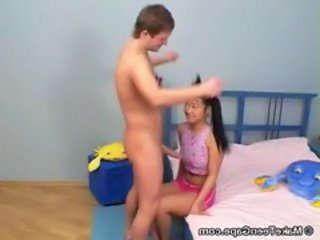Asian Interracial Pigtail Teen