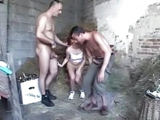 Daddy Daughter Farm Family Old and Young Threesome