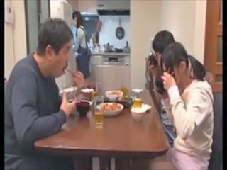 Asian Daddy Daughter Family Japanese Kitchen Old and Young
