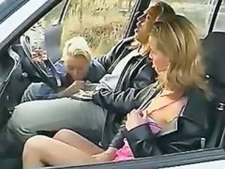Amateur Blowjob Car Clothed Threesome