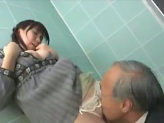 Asian Clothed Daddy Licking Old and Young Panty Teen Toilet