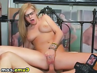 Blonde Glasses Hardcore Riding Teen Webcam