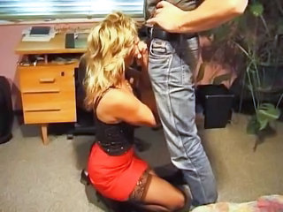 Blowjob Clothed European German Mature Office Stockings
