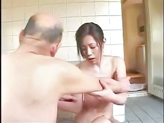 Asian Bathroom Family Japanese Old and Young