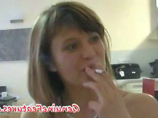 Amateur Kitchen MILF Smoking