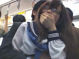 Asian Bus Glasses Public Teen