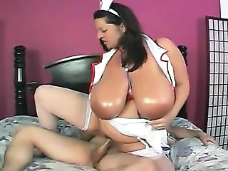BBW Big Tits MILF Natural Nurse Riding SaggyTits Stockings Uniform