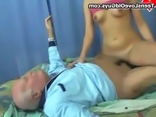 Daddy Old and Young Riding Teen