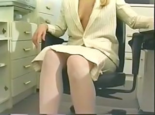 Blonde Office Secretary Stockings