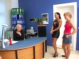 Blonde Lesbian MILF Office Old and Young Teacher Teen